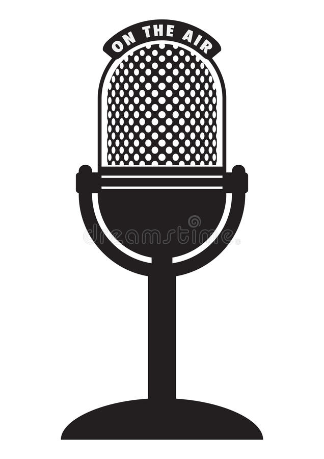 Retro microphone. Vector retro microphone isolated on a white background