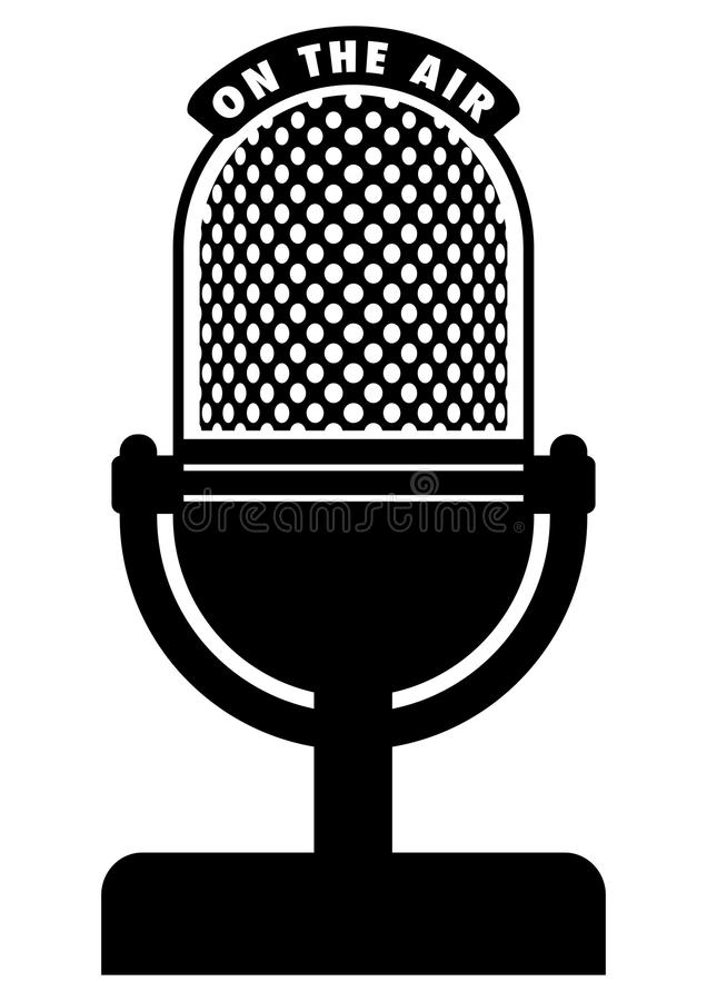 Retro microphone. Vector retro microphone on a table stage royalty free illustration
