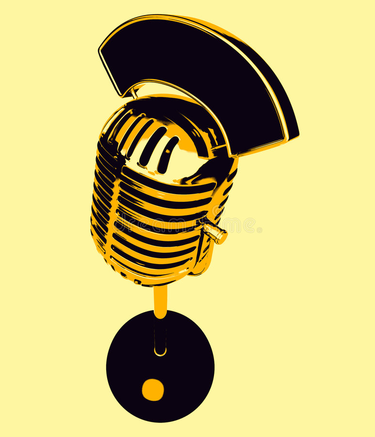Retro microphone. 3D generated microphone, 3d picture in a retro style stock illustration