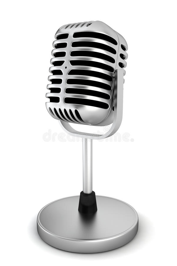 Retro microphone. 3d illustration on white background vector illustration