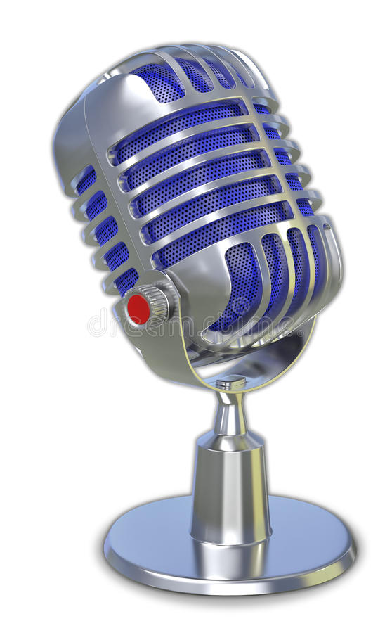 Retro microphone 3d. For broadcasting stock illustration