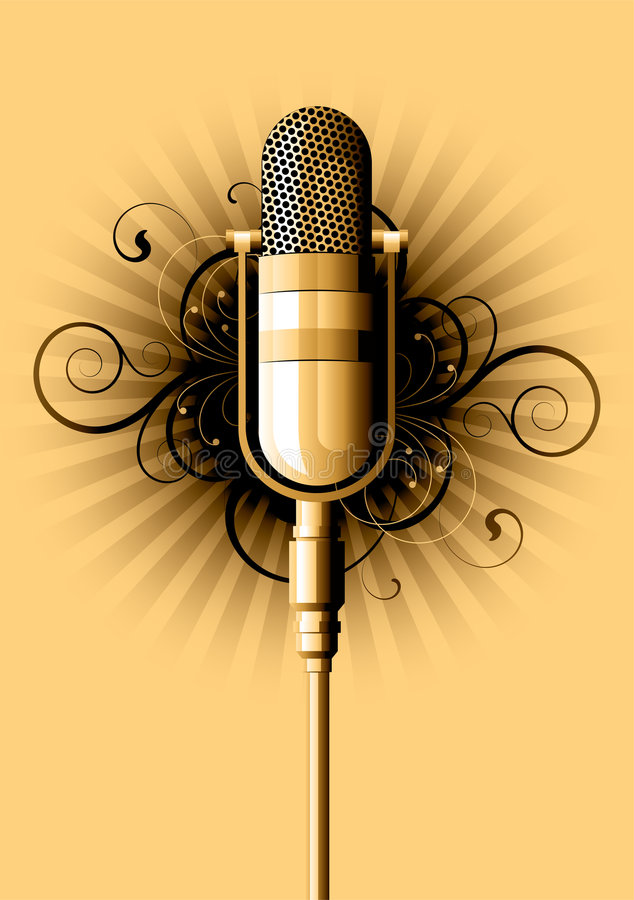 Retro microphone. On a white background royalty free illustration