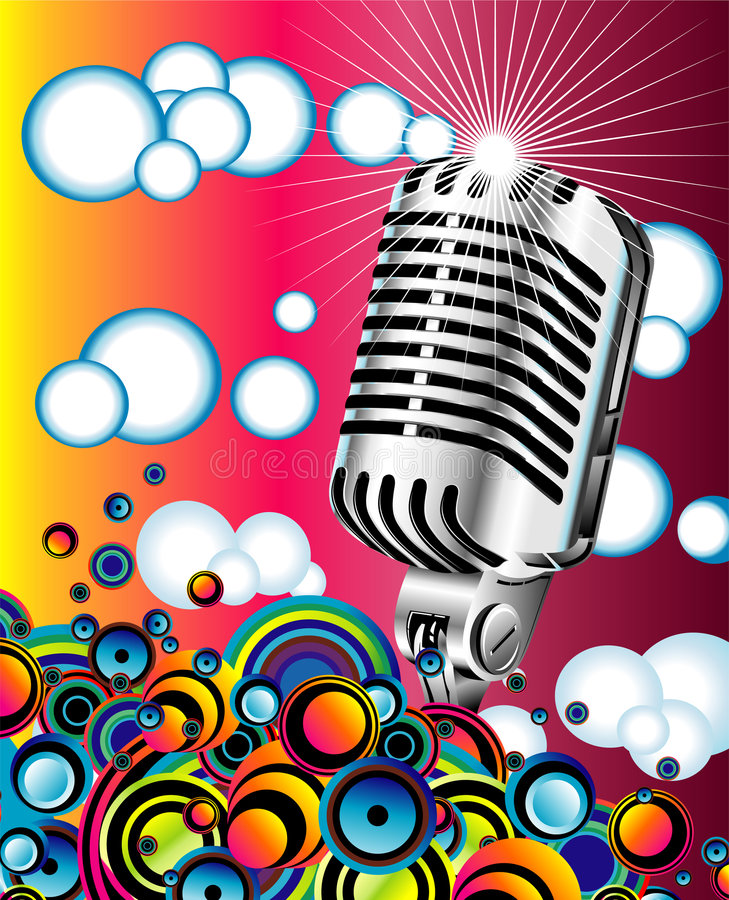Retro microphone in the Blue sky - JPG. Colorful metallic retro microphone in the Blue sky stock illustration