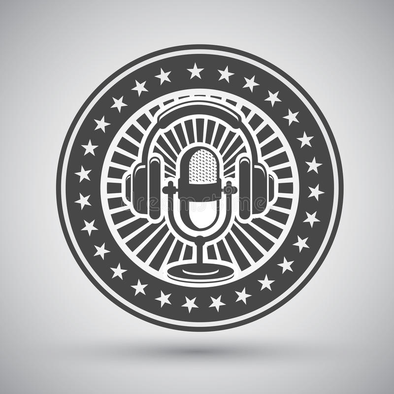 Retro microphone and headphones emblem stock illustration