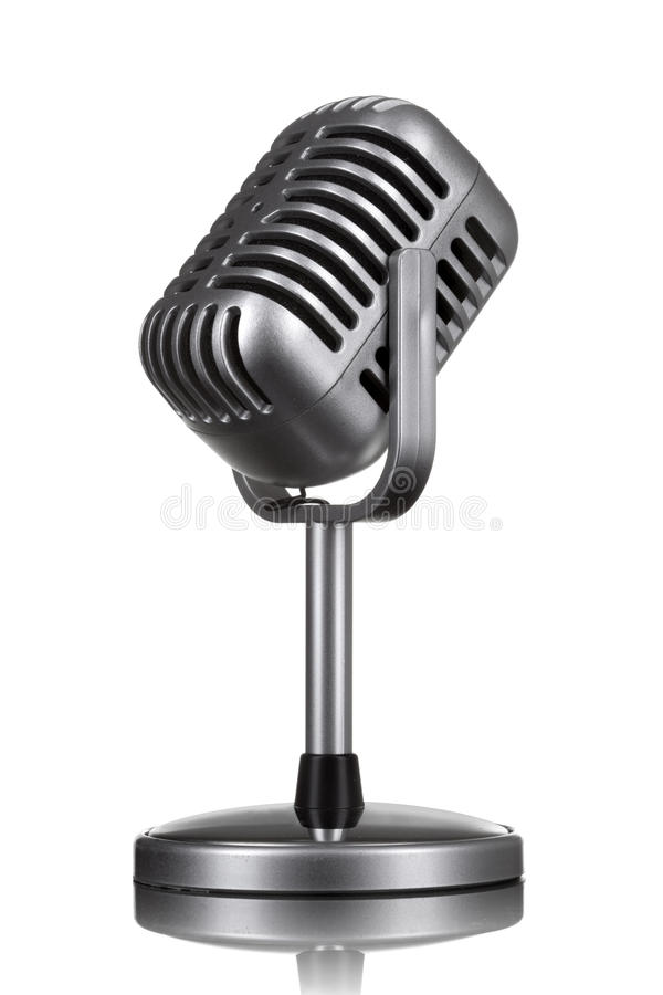 Retro microphone isolated stock image