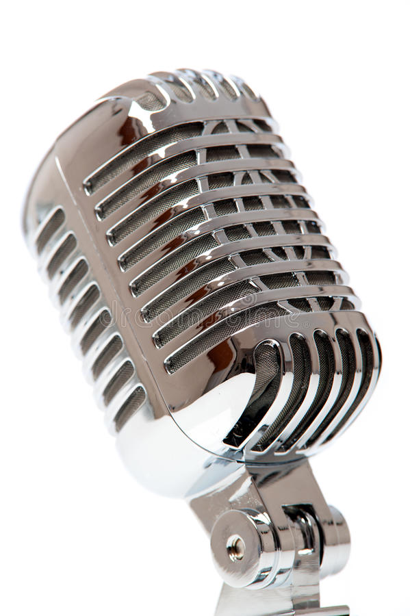 Retro microphone isolated against white royalty free stock photo