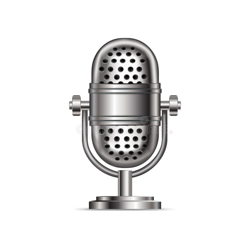 Retro microphone isolated on white royalty free illustration