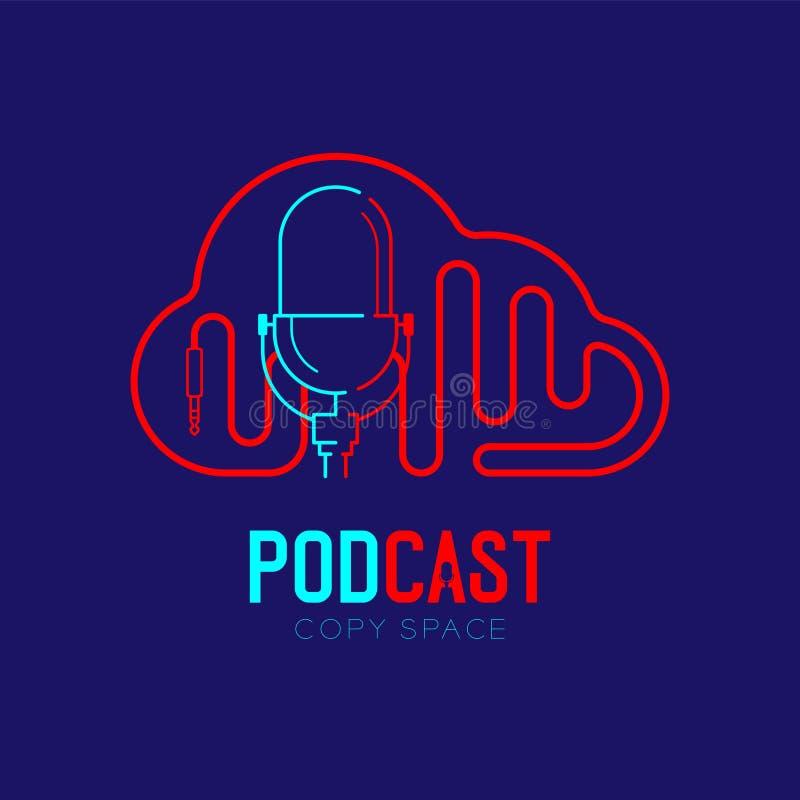 Retro Microphone logo icon outline stroke with Cloud shape frame cable dash line design, podcast internet radio program concept stock illustration