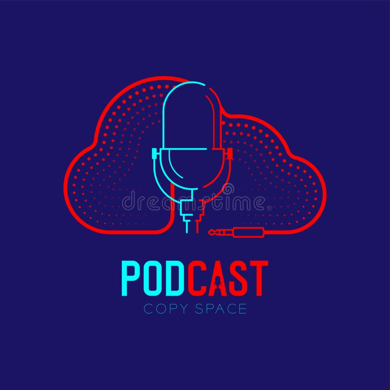 Retro Microphone logo icon outline stroke with Cloud shape frame cable dash line design, podcast internet radio program concept. Illustration isolated on dark vector illustration