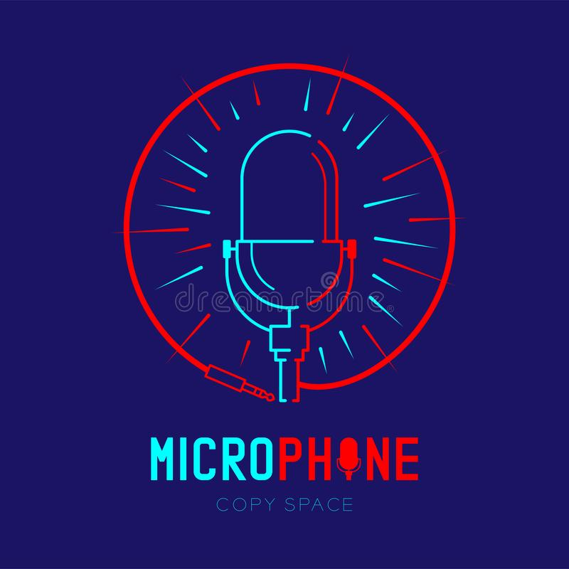 Retro Microphone logo icon outline stroke with radius in circle frame from cable dash line design illustration isolated on dark. Blue background with Microphone stock illustration
