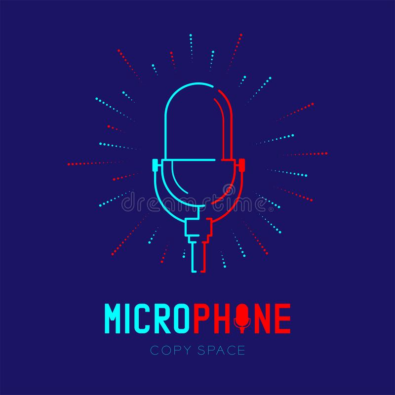 Retro Microphone logo icon outline stroke with radius frame dash line design illustration isolated on dark blue background with. Microphone text and copy space royalty free illustration