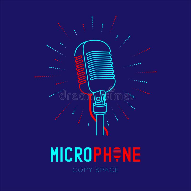 Retro Microphone logo icon outline stroke with radius frame dash line design illustration. Isolated on dark blue background with Microphone text and copy space royalty free illustration