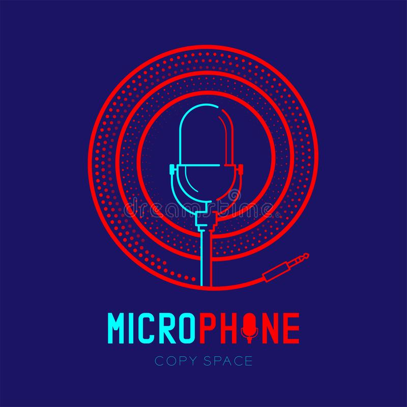 Retro Microphone logo icon outline stroke with spiral frame from cable dash line design illustration isolated on dark blue. Background with Microphone text and vector illustration