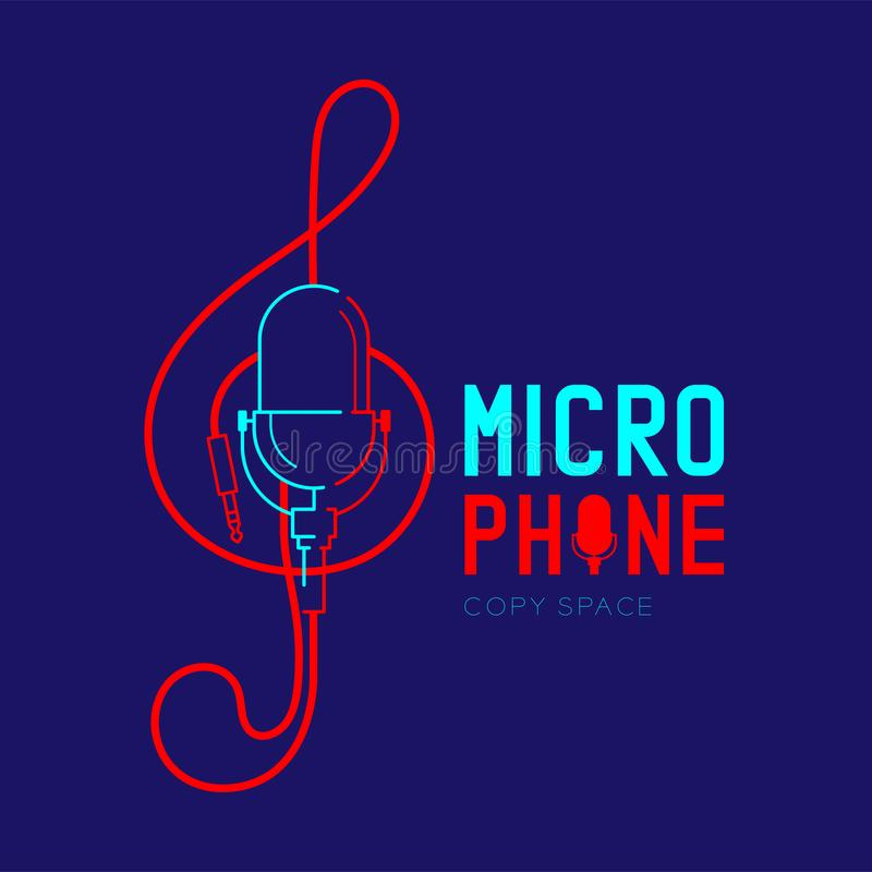 Retro Microphone logo icon outline stroke with Treble Clef shape from cable dash line design illustration isolated on dark blue. Background with Microphone text stock illustration