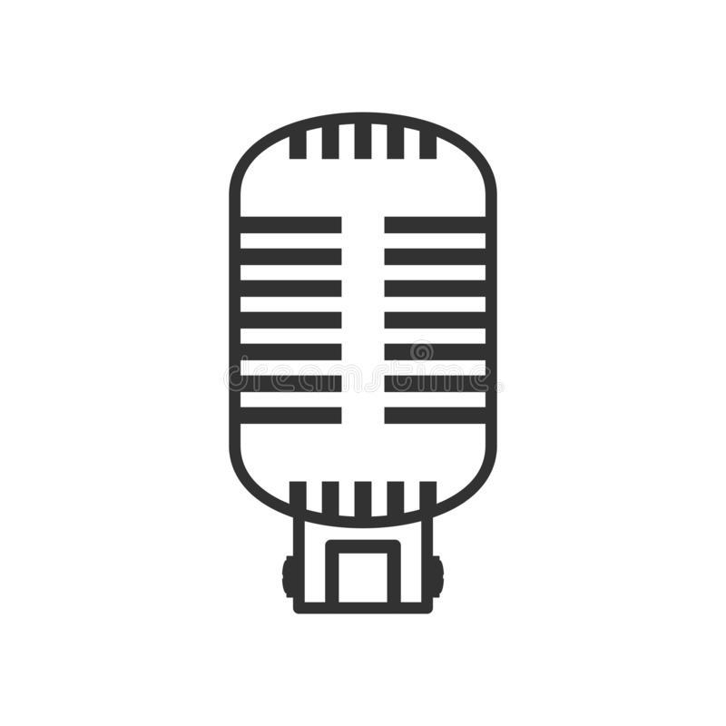 Retro Microphone Outline Flat Icon on White. Retro microphone outline flat icon, isolated on white background. Eps file available vector illustration