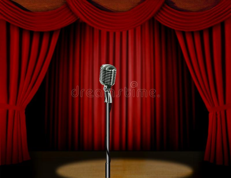 Retro microphone and red curtain stock illustration