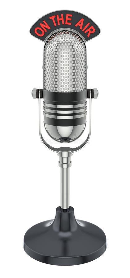Retro microphone. Round retro microphone - 3D illustration over white background vector illustration