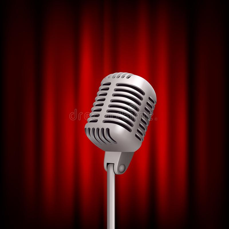 Retro microphone on stage. Professional stand up theatre red curtain broadcast mic vector vintage concept vector illustration
