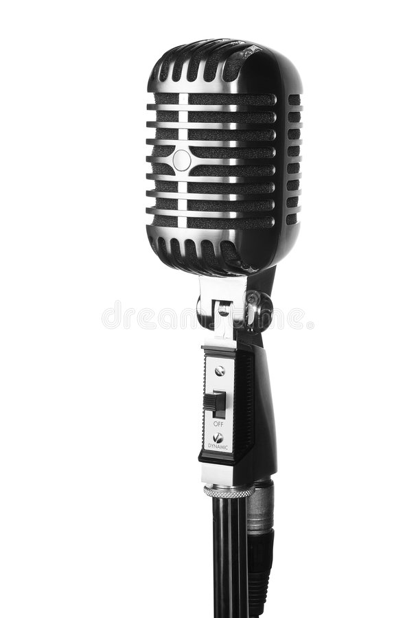 Retro microphone on stand isolated on white royalty free stock photography