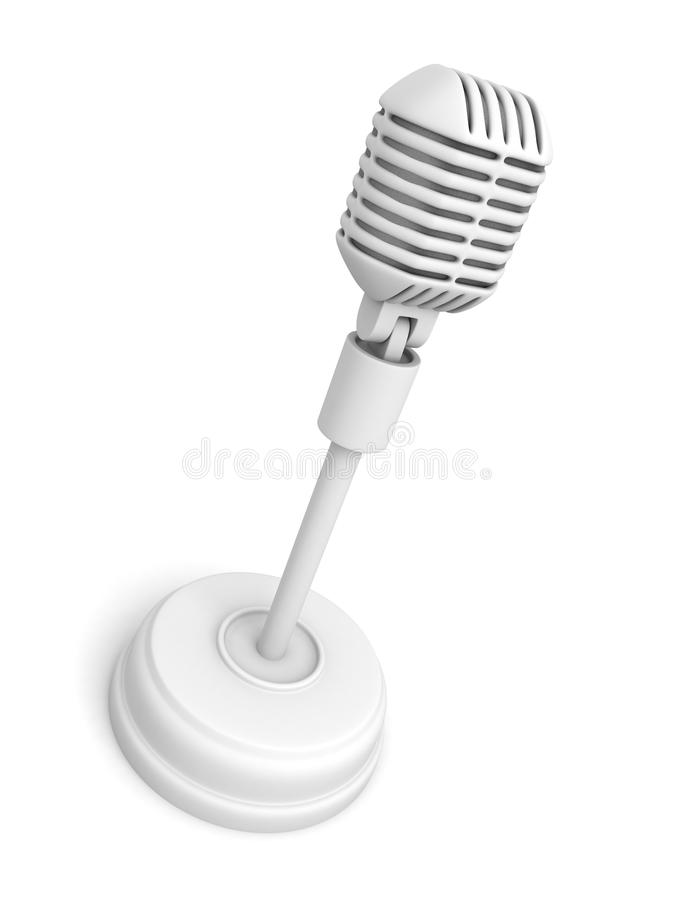 Retro Microphone On Stand Over White Royalty Free Stock Images