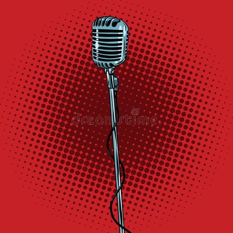 Retro microphone and stand. Pop art vector illustration. Music and concert royalty free illustration