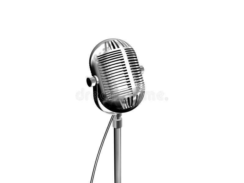 Retro microphone on white. Retro microphone isolated on white stock illustration