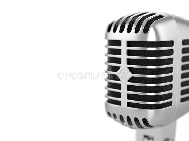 Retro microphone. On a white background. 3d illustration stock illustration