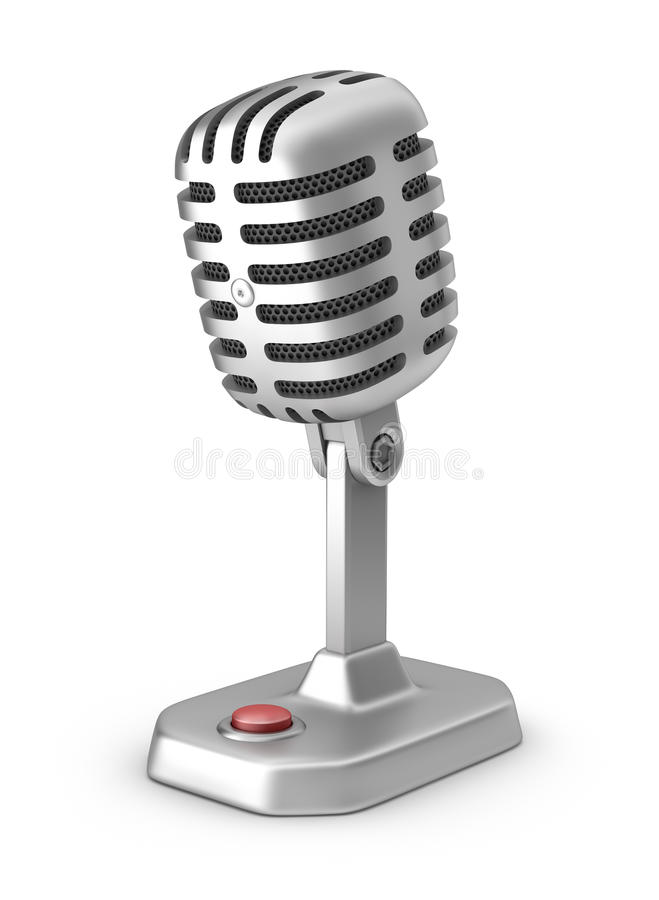 Retro microphone whith button vector illustration