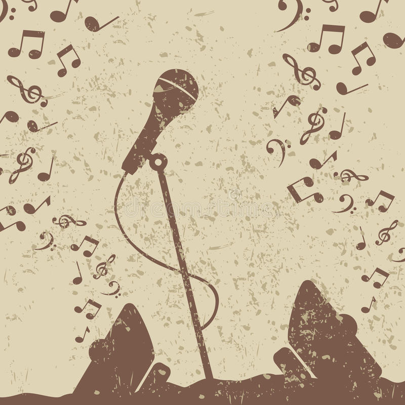 Retro a microphone2 royalty free illustration