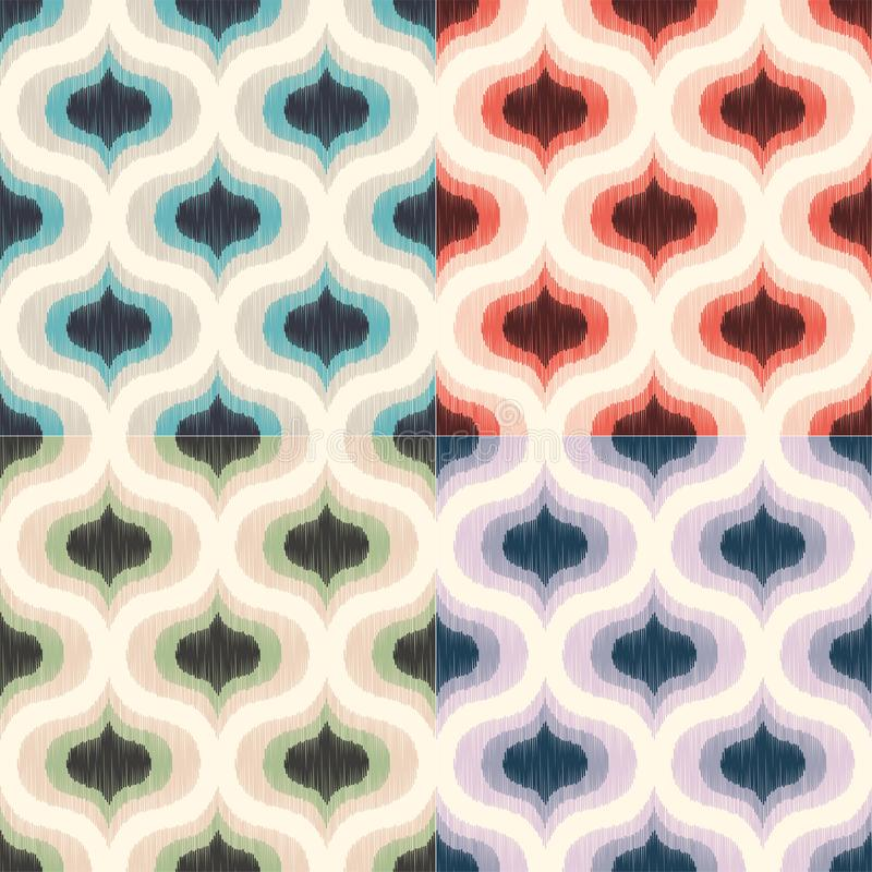 Retro Mid century 70s geometric wallpaper pattern. Funky colorful texture seamless background. vector illustration