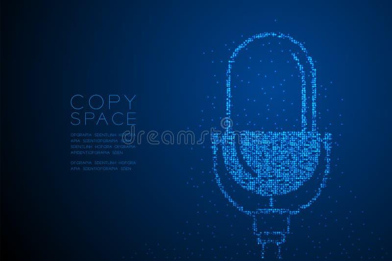 Retro mikrofon för abstrakt geometrisk för Bokeh cirkelprick modell för PIXEL, illustration för färg för design för musikutrustni vektor illustrationer