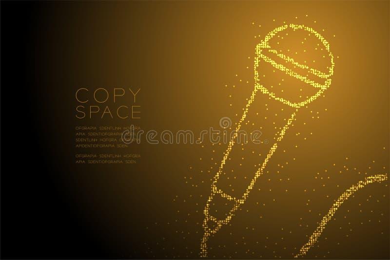 Retro mikrofon för abstrakt geometrisk för Bokeh cirkelprick modell för PIXEL, illustration för färg för design för musikutrustni royaltyfri illustrationer