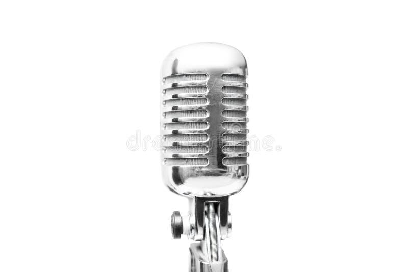 Retro mikrofon för tappning som isoleras på vit bakgrund royaltyfria foton