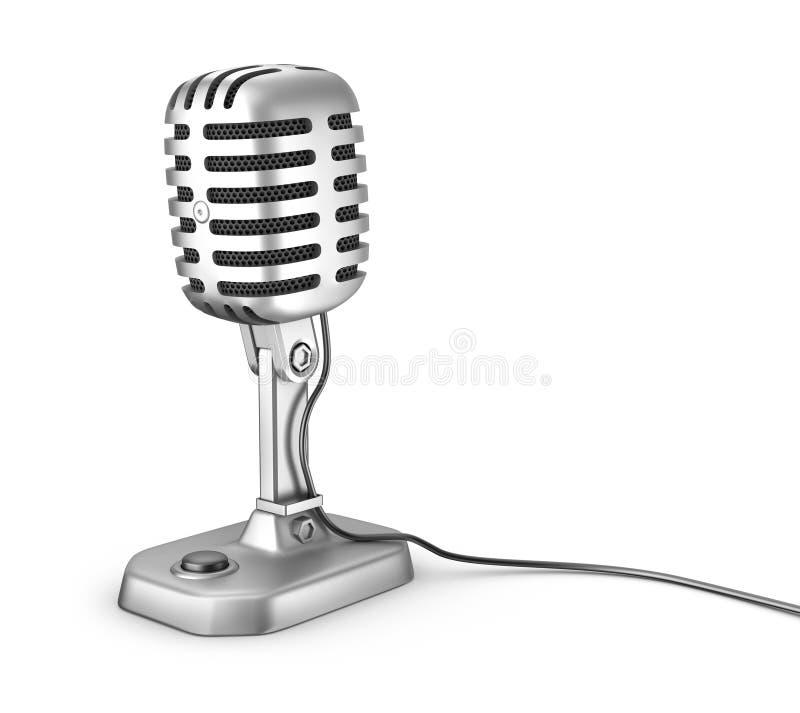 Retro mikrofon. Isolerat på vit. royaltyfri illustrationer