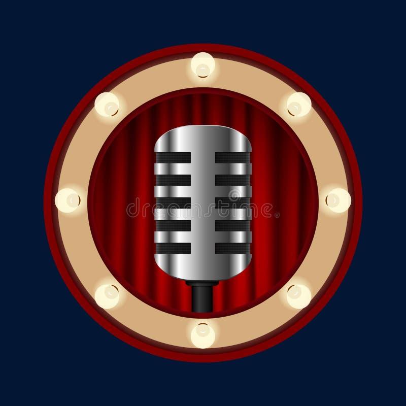 Retro mikrofon na tle czerwone zasłony ilustracji