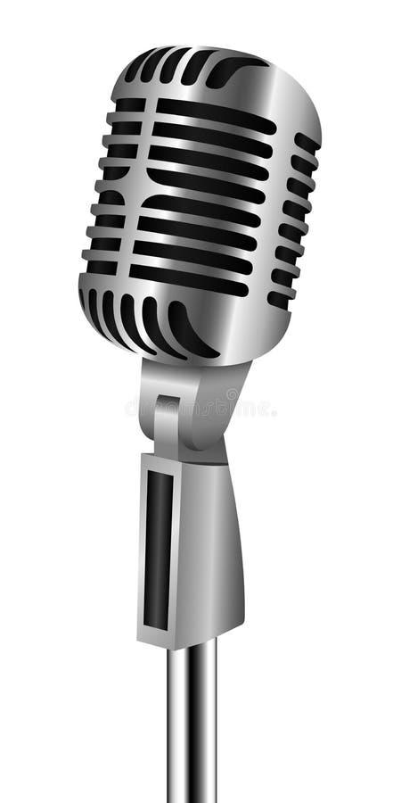 Retro mikrofon på stativ stock illustrationer