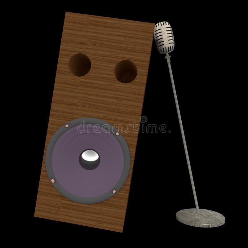 Retro- Mikrofon- und Sprecherkabinett lokalisiert auf schwarzem Hintergrund, Wiedergabe 3D lizenzfreie abbildung