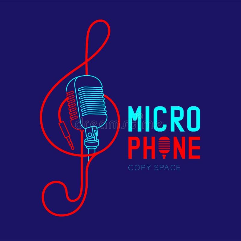 Retro- Mikrofonlogoikonen-Entwurfsanschlag mit Violinschlüsselform von der Kabelstrichlinie-Entwurfsillustration lizenzfreie abbildung