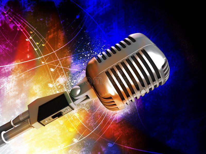 retro mikrofonu styl ilustracji