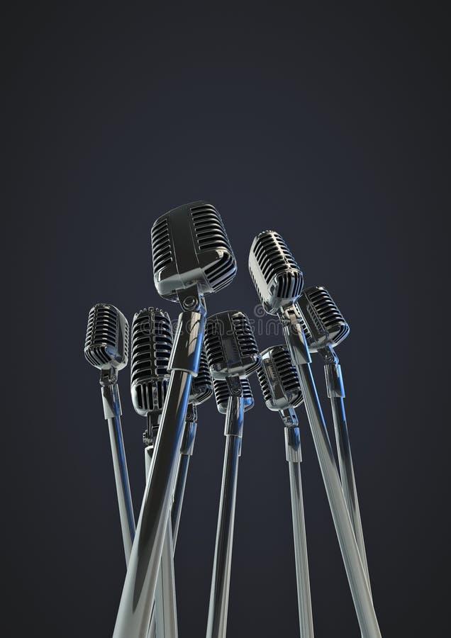 Retro- Mikrophone lizenzfreie abbildung