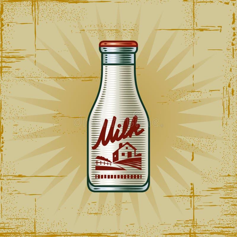 Retro- Milchflasche lizenzfreie abbildung