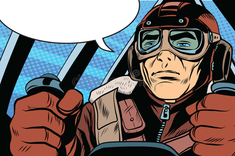Retro militarny lotnika pilot royalty ilustracja