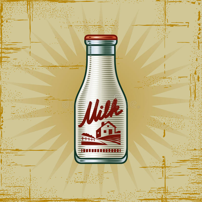 Retro Milk Bottle royalty free illustration