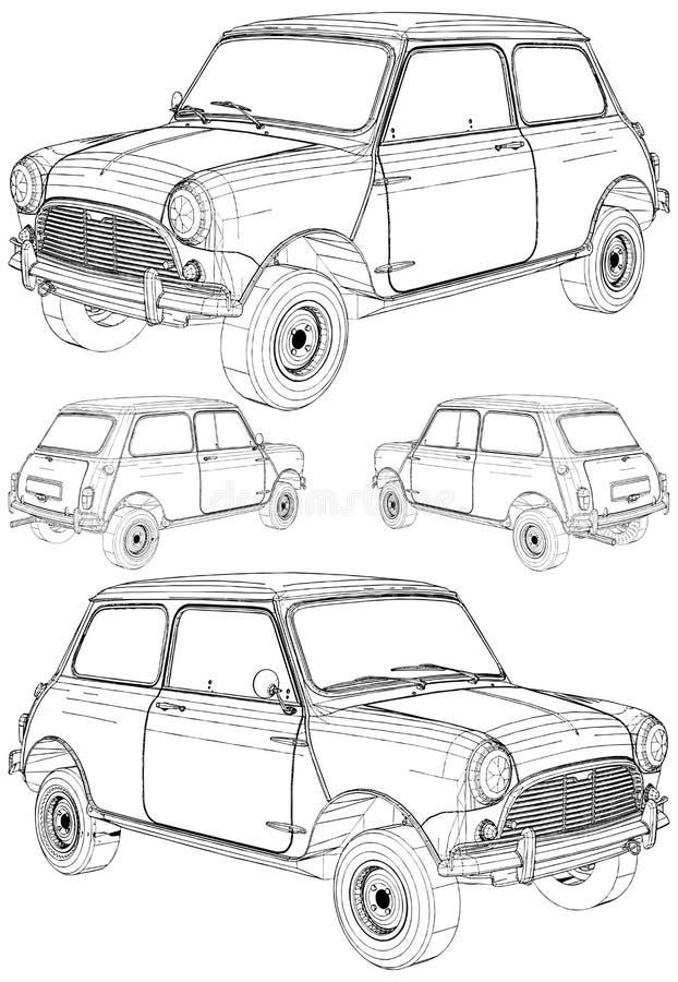 Free Retro Mini Car Vector. Isolated On White Background. Stock Photo - 145348500