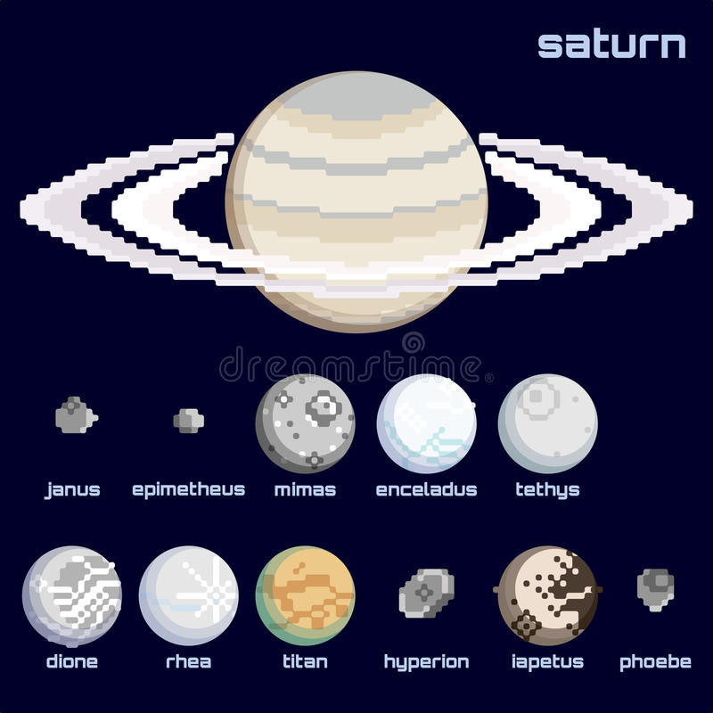 Retro minimalistic reeks Saturn en manen