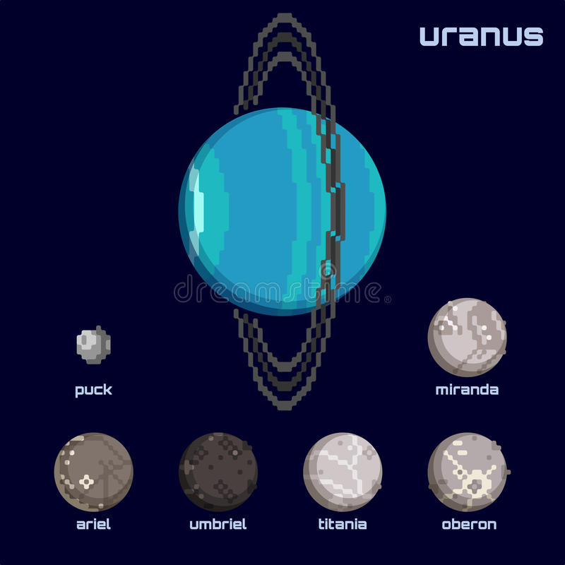 Retro minimalistic set of Uranus and moons. Set of the Uranus system, including moons and the planet, in a retro pixelated style. Graphics are grouped and in stock illustration