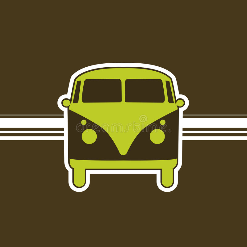 Retro minivan royalty-vrije stock foto