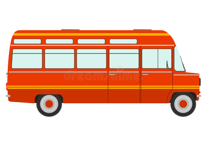 Retro minivan. Silhouette of a retro minivan. Place for any text royalty free illustration