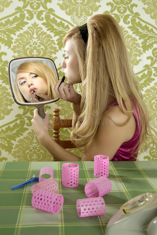 Retro mirror makeup woman lipstick vintage stock photos