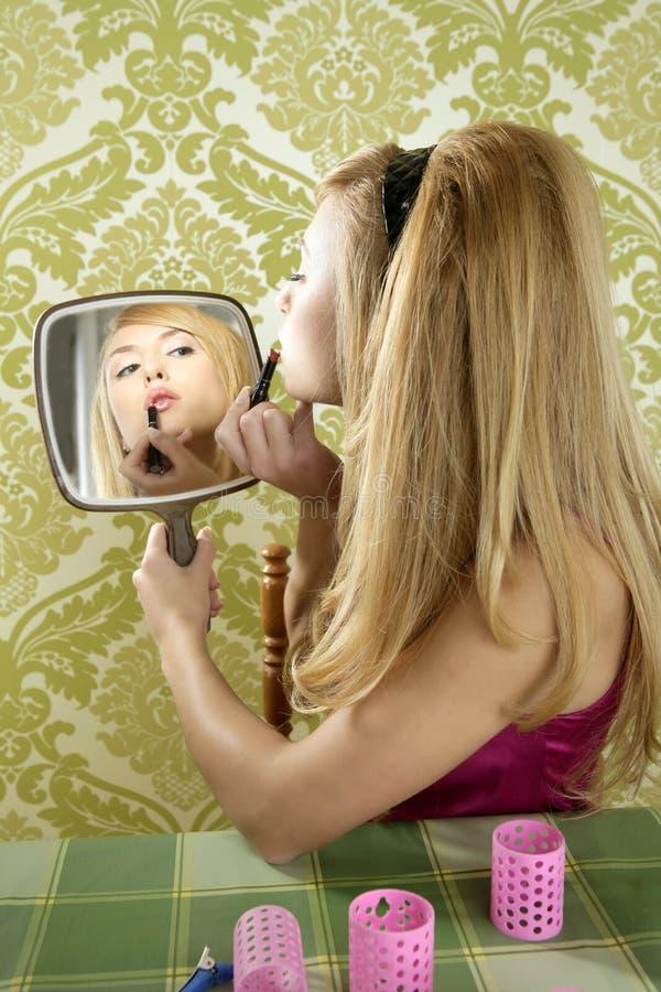 Retro mirror makeup woman lipstick vintage royalty free stock photo